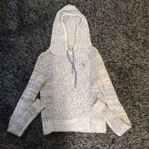 Abercrombie Hooded Cropped Blue and White Sweater